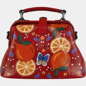Стильная красная сумка с росписью ATS-2104