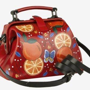 Стильная красная сумка с росписью ATS-2104 215851