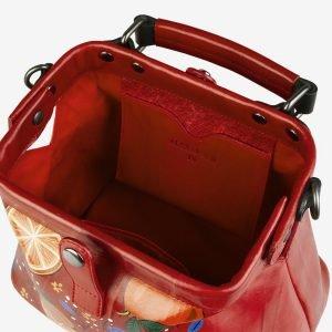 Стильная красная сумка с росписью ATS-2104 215853