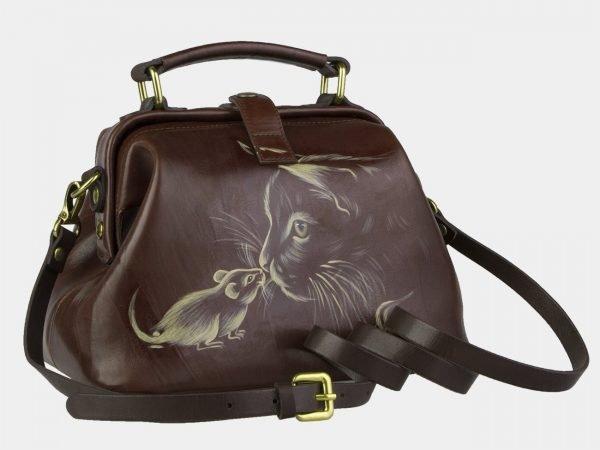 Стильная коричневая сумка с росписью ATS-2105