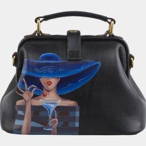 Кожаная черная сумка с росписью ATS-2820