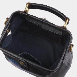 Кожаная черная сумка с росписью ATS-2820 214274