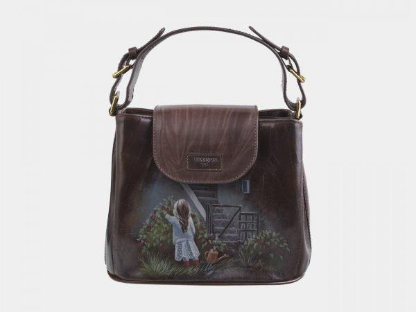 Стильная коричневая сумка с росписью ATS-2819