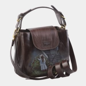 Стильная коричневая сумка с росписью ATS-2819 214278