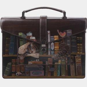 Модный коричневый портфель с росписью ATS-2823