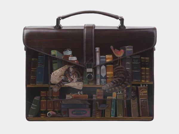 Кожаный коричневый портфель с росписью ATS-2823