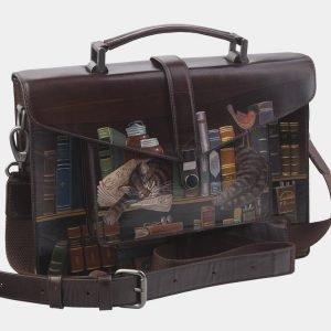 Кожаный коричневый портфель с росписью ATS-2823 214263