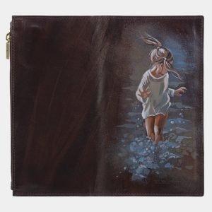 Неповторимый коричневый портмоне с росписью ATS-2824 214258