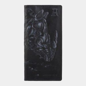 Стильный черный портмоне с росписью ATS-2825