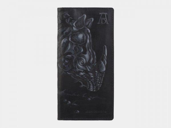 Функциональный черный портмоне с росписью ATS-2825