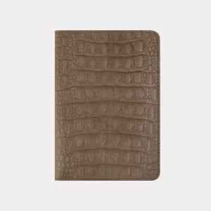 Кожаная бежевая обложка для паспорта ATS-2218