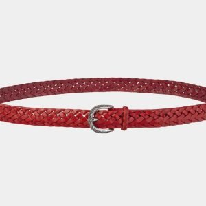 Кожаный красный женский модельный ремень ATS-2139