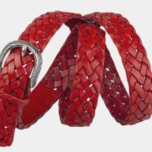 Кожаный красный женский модельный ремень ATS-2139 215775