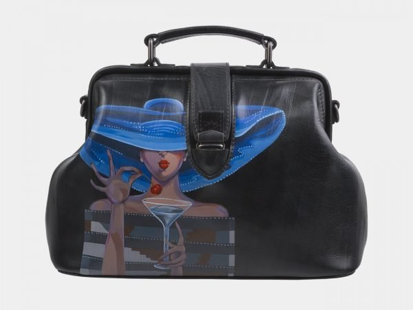 Деловая голубовато-синяя сумка с росписью ATS-2813