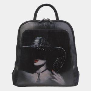 Вместительный черный рюкзак с росписью ATS-2800