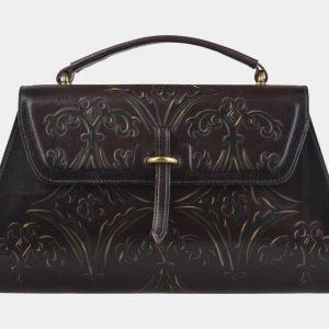 Стильная коричневая сумка с росписью ATS-2143