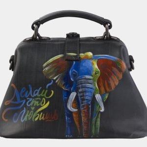 Уникальная серая сумка с росписью ATS-2144