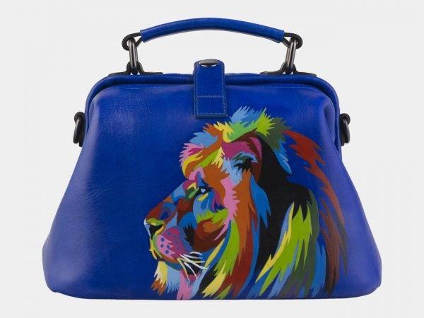 Стильная голубовато-синяя сумка с росписью ATS-2145