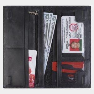 Вместительный черный портмоне с росписью ATS-2181 215727