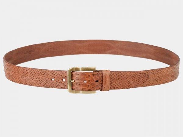 Солидный темно-оранжевый женский джинсовый ремень ATS-801