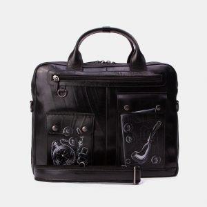 Неповторимый черный портфель с росписью ATS-3337