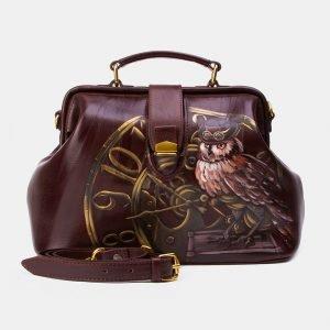 Солидная коричневая сумка с росписью ATS-3343