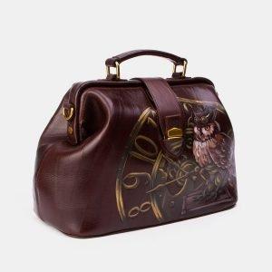 Солидная коричневая сумка с росписью ATS-3343 212779
