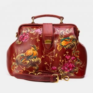 Уникальная светло-коричневая сумка с росписью ATS-3341