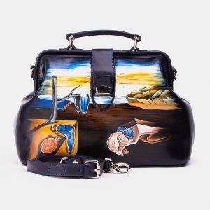 Кожаная синяя сумка с росписью ATS-3342