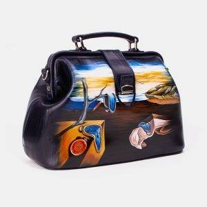 Кожаная синяя сумка с росписью ATS-3342 212784