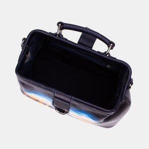Кожаная синяя сумка с росписью ATS-3342 212786