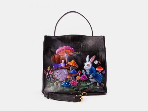 Уникальная черная сумка с росписью ATS-3345