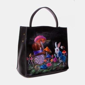 Уникальная черная сумка с росписью ATS-3345 212769