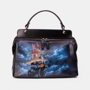 Вместительная черная сумка с росписью ATS-3346
