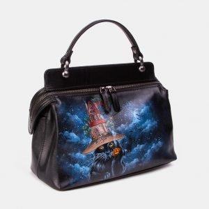 Вместительная черная сумка с росписью ATS-3346 212764
