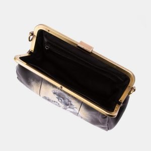 Солидный черный клатч с росписью ATS-3338 212806