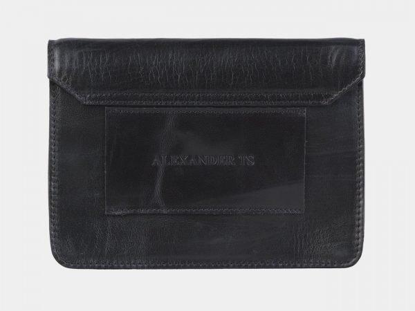 Кожаная черная женская сумка на пояс ATS-2198