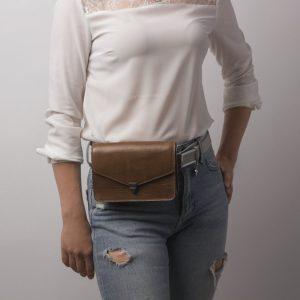 Солидная бежевая женская сумка на пояс ATS-2191 215713