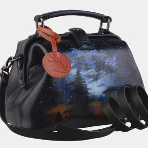 Уникальная черная сумка с росписью ATS-2266 215554