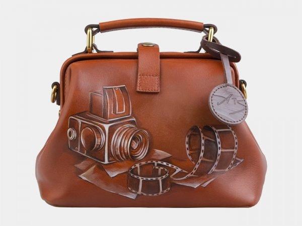 Функциональная темно-оранжевая сумка с росписью ATS-2861