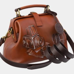 Функциональная темно-оранжевая сумка с росписью ATS-2861 214123