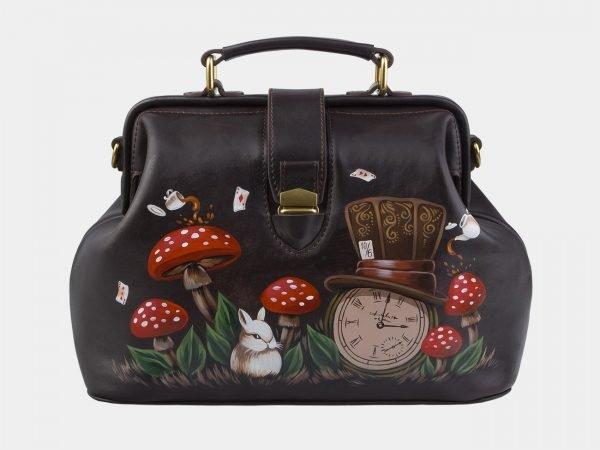 Солидная коричневая сумка с росписью ATS-2862