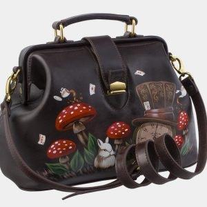 Солидная коричневая сумка с росписью ATS-2862 214118