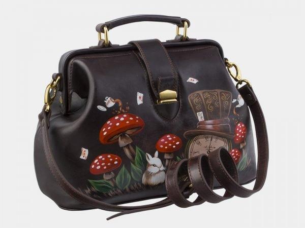 Удобная коричневая сумка с росписью ATS-2862