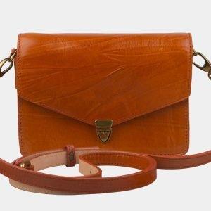 Кожаная оранжевая женская сумка на пояс ATS-2235