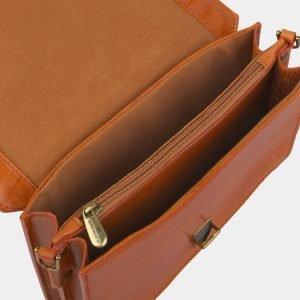 Кожаная оранжевая женская сумка на пояс ATS-2235 215601