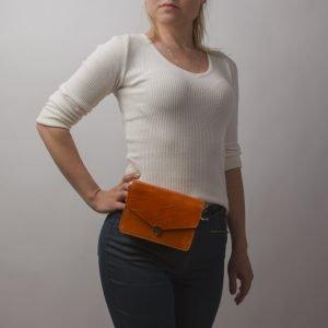 Кожаная оранжевая женская сумка на пояс ATS-2235 215599