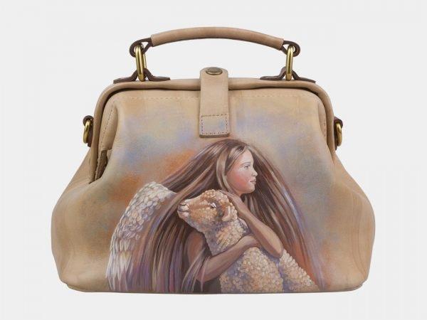 Модная бежевая сумка с росписью ATS-2927