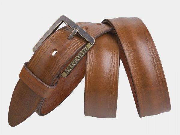 Кожаный светло-жёлтый мужской джинсовый ремень ATS-2226