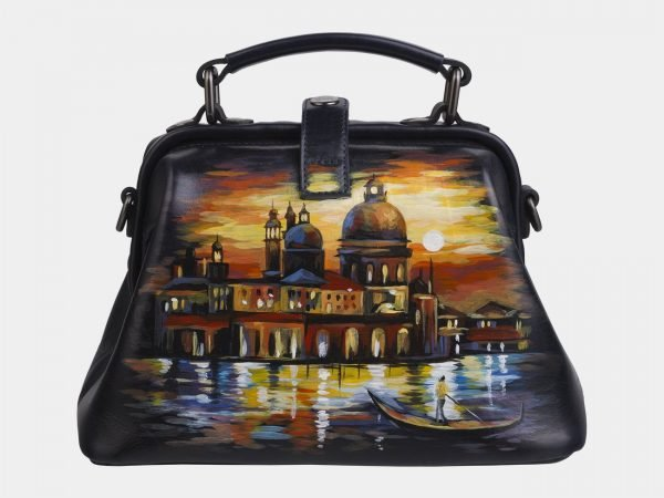 Уникальная черная сумка с росписью ATS-2267